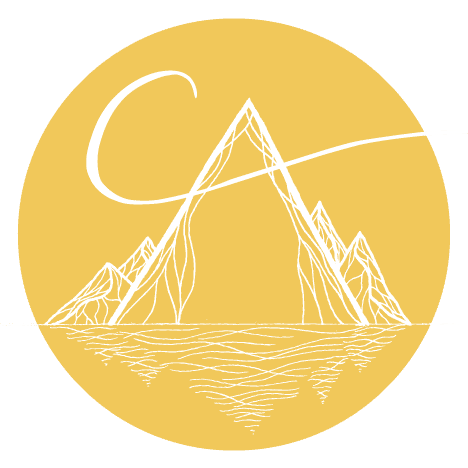 Celebrate Again Logo - image of mountains and water reflecting with a C crossing through the top of a mountain to symbolize Celebrete Again