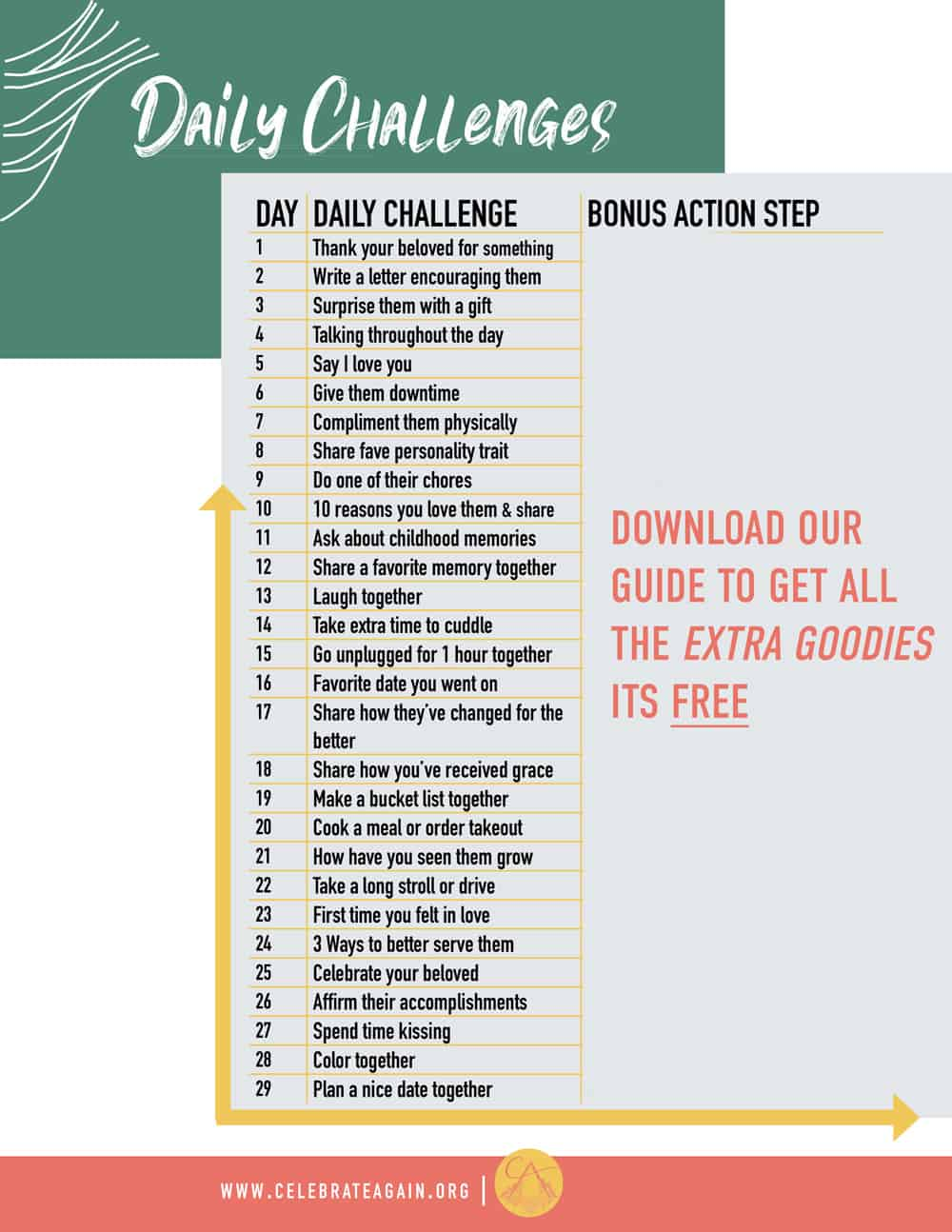 30 day relationship challenge with ideas and directions to download guide for a printable version