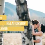 reconnect relationship challenge couple in a forest by aspen trees kissing behind the tree