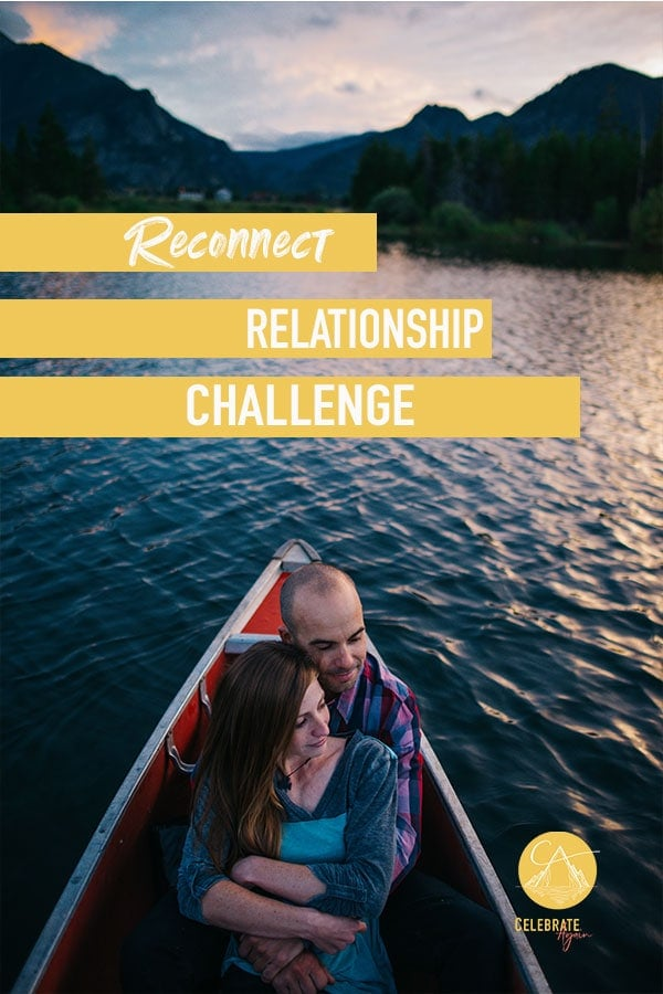 reconnect relationship challenge couple in a canoe on an alpine lake at sunset