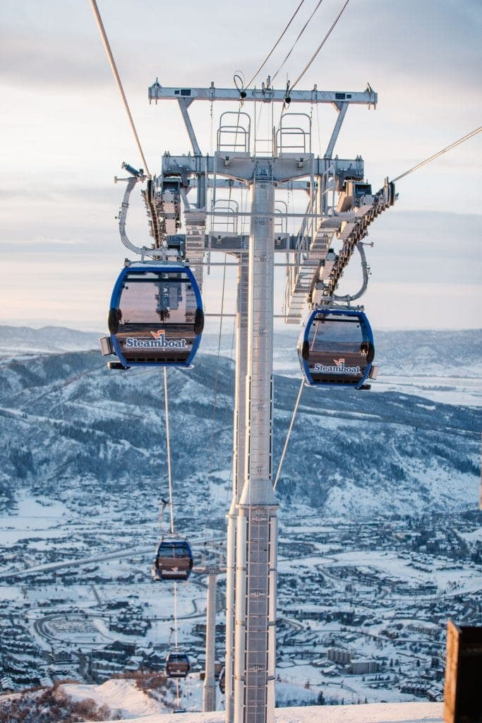 View of the gondolas at Steamboat Springs Ski Area
