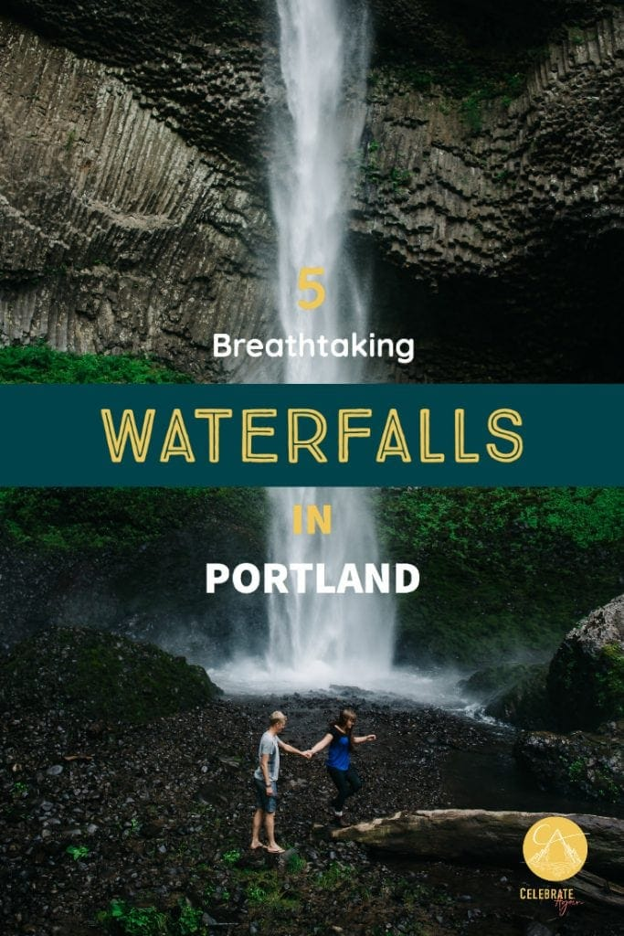 waterfalls in Portland with a couple at the bottom of a waterfall