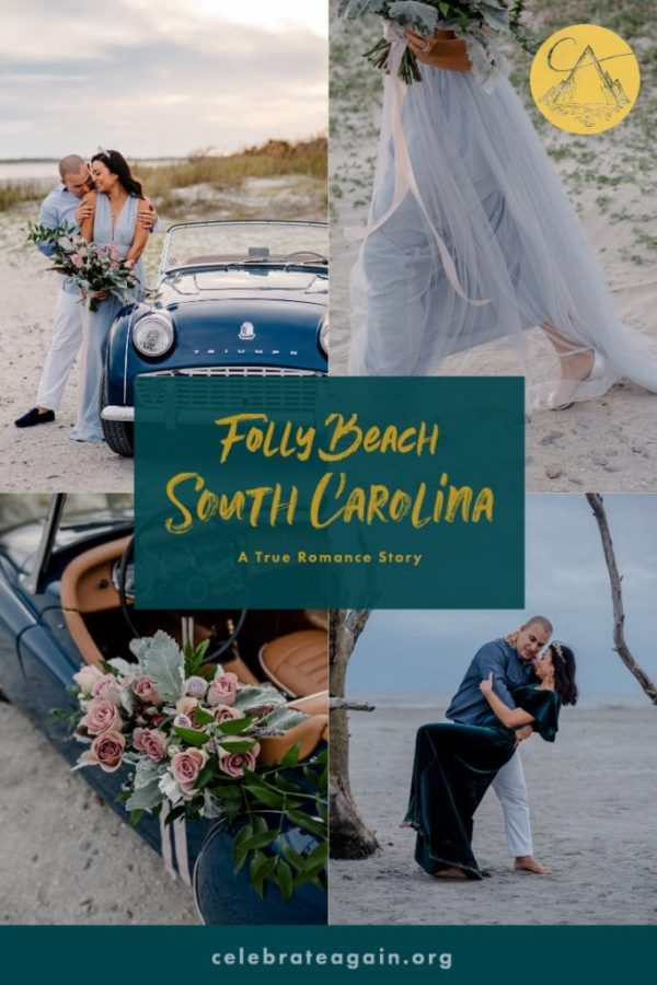 college of images of couple on a beach with title says folly beach south carolina a true romance story