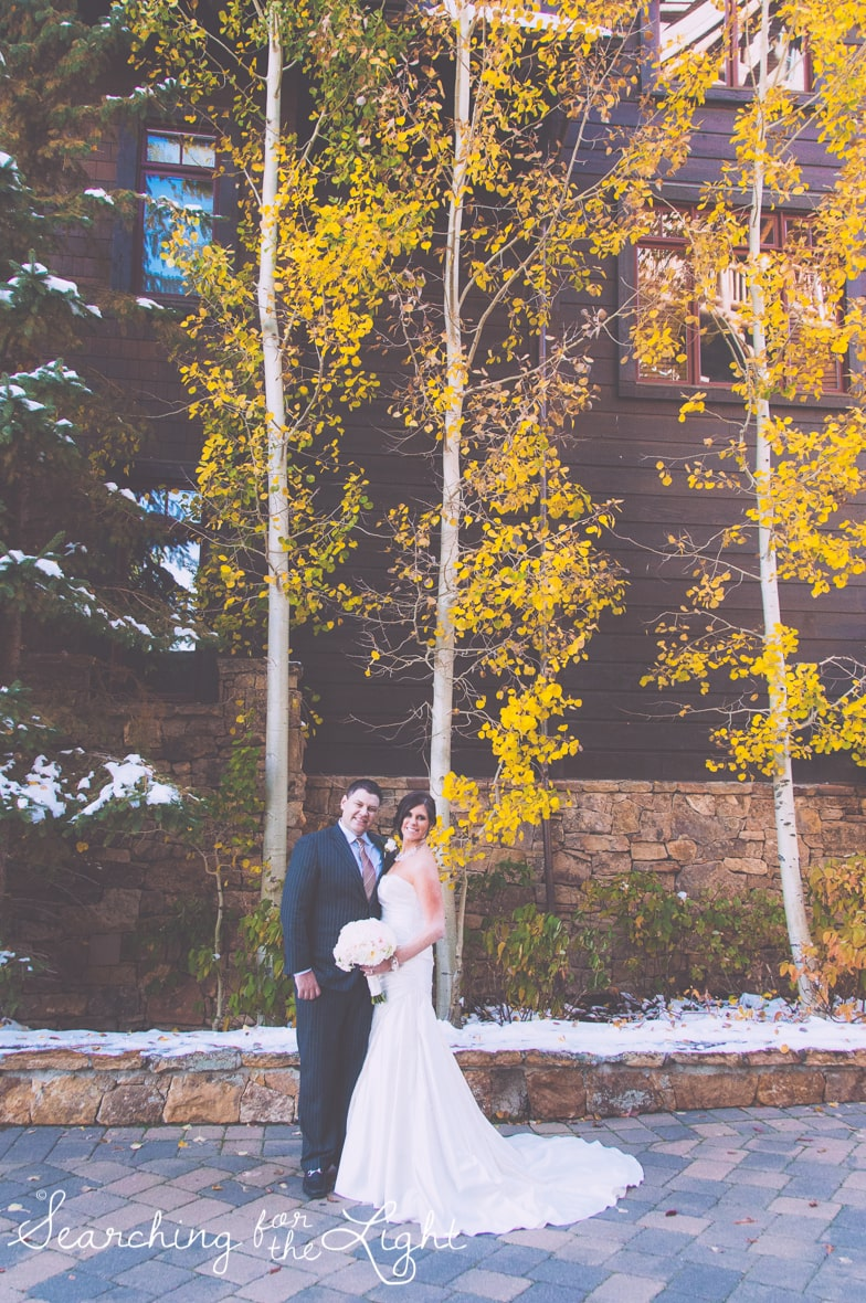 bride and groom at Fall Wedding photos in Beaver Creek, CO by Denver Wedding Photographer