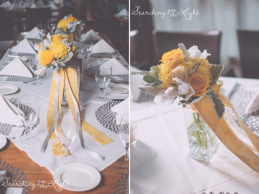 chinook tavern wedding reception decorations, gray and yellow wedding colors reception decorations