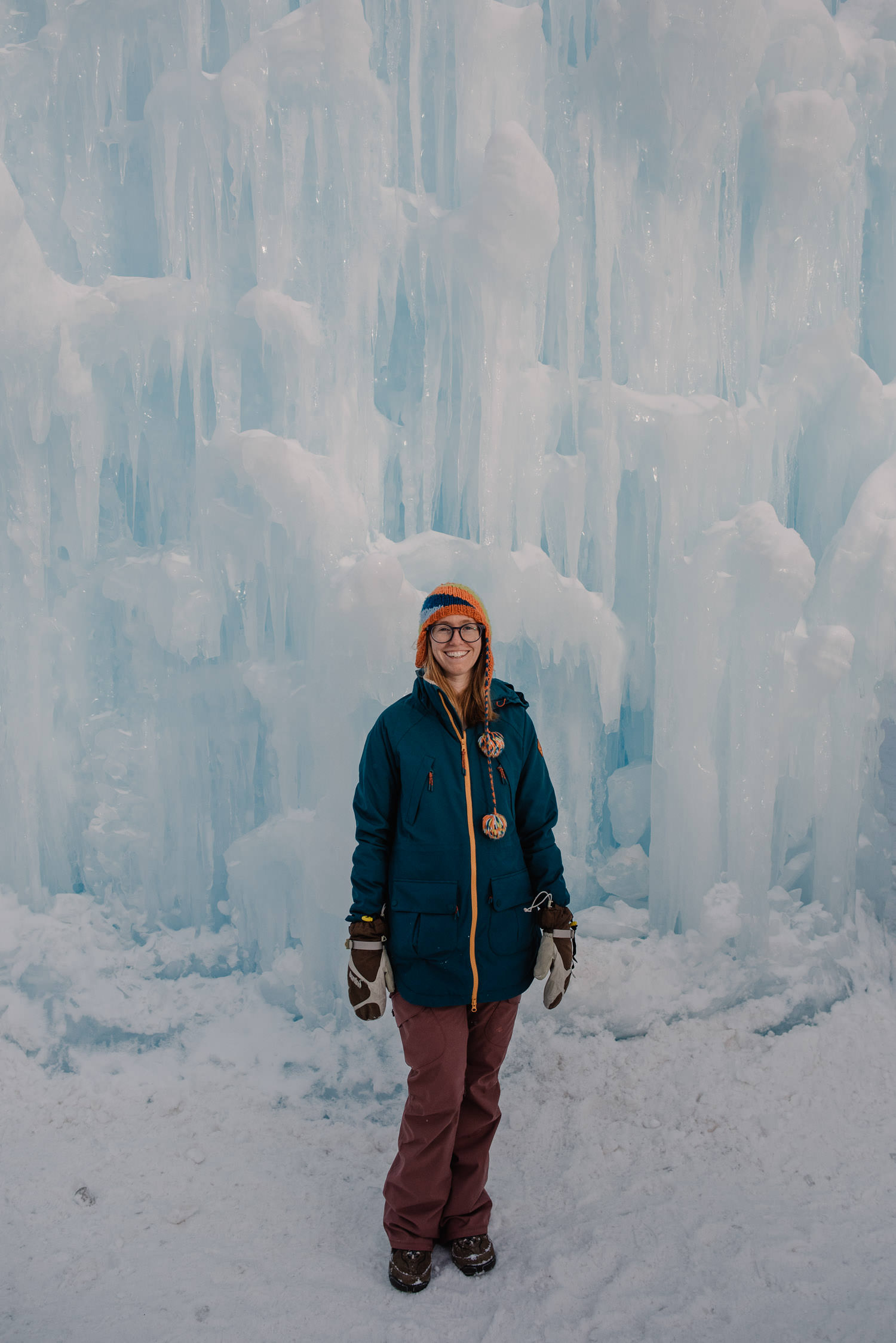 Emmy in Ice castles wearing snow gear