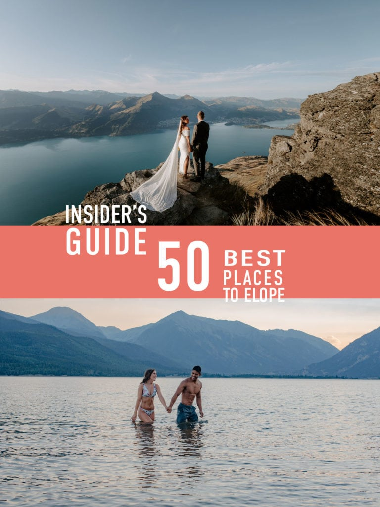 "top image wedding couple standing on a rock over looking an alpine lake, text "" Insiders guide 50 best places to elope"", second image couple in alpine lake swimming"