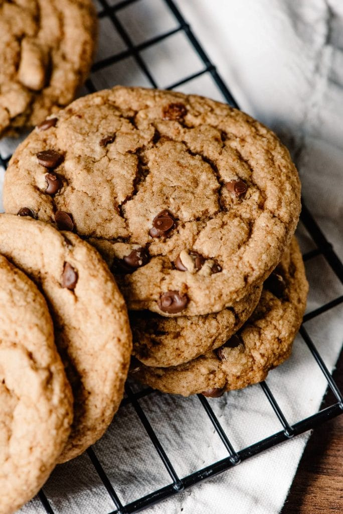 best vegan grain free chocolate chip cookies on a tray