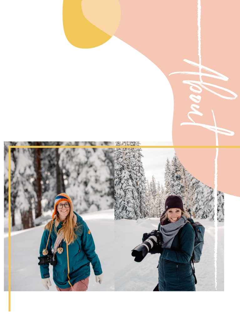 brittany and emmy with their cameras in the snow