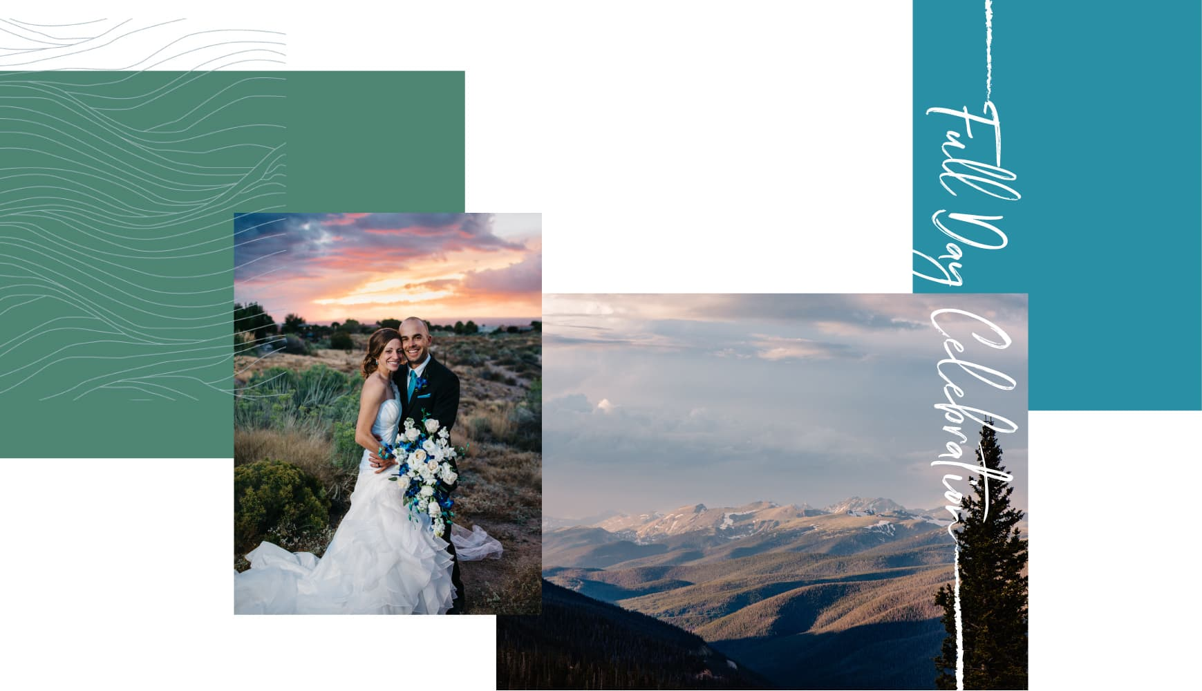 couple smiling at camera at sunset, view of mountains at sunset text: fully day celebration