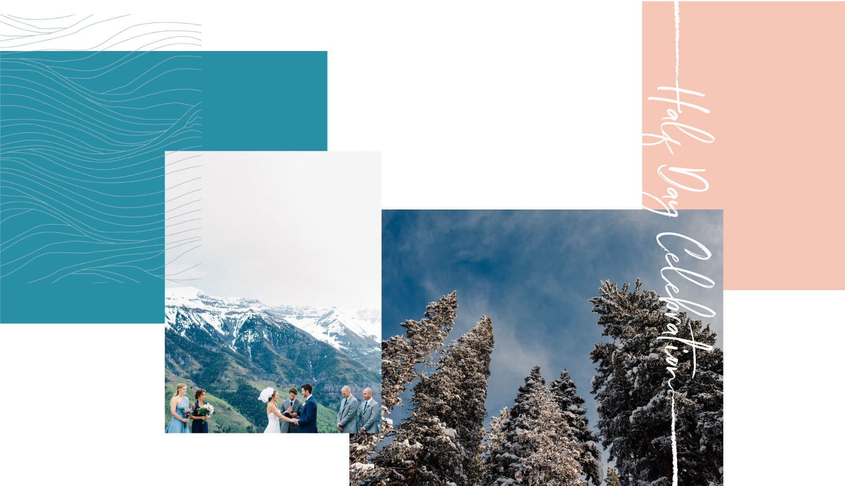couple getting married on top of mountain, view of snow covered trees text: half day celebration