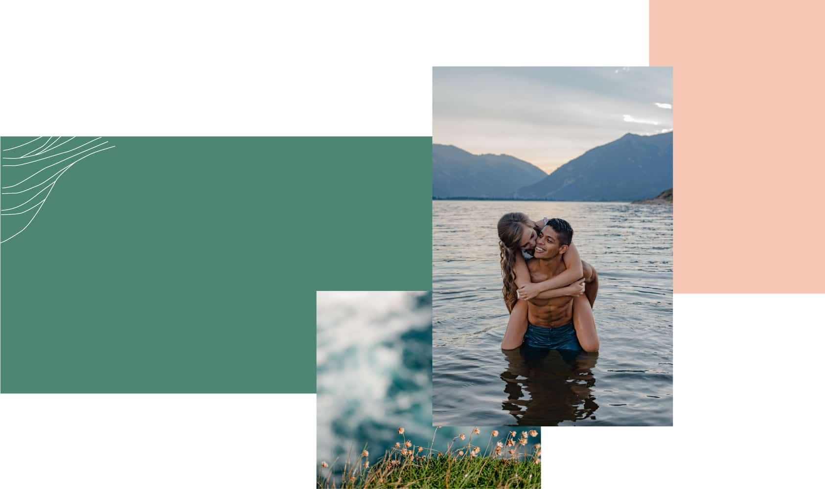 couple in an alpine lake with female on a piggy back ride of man