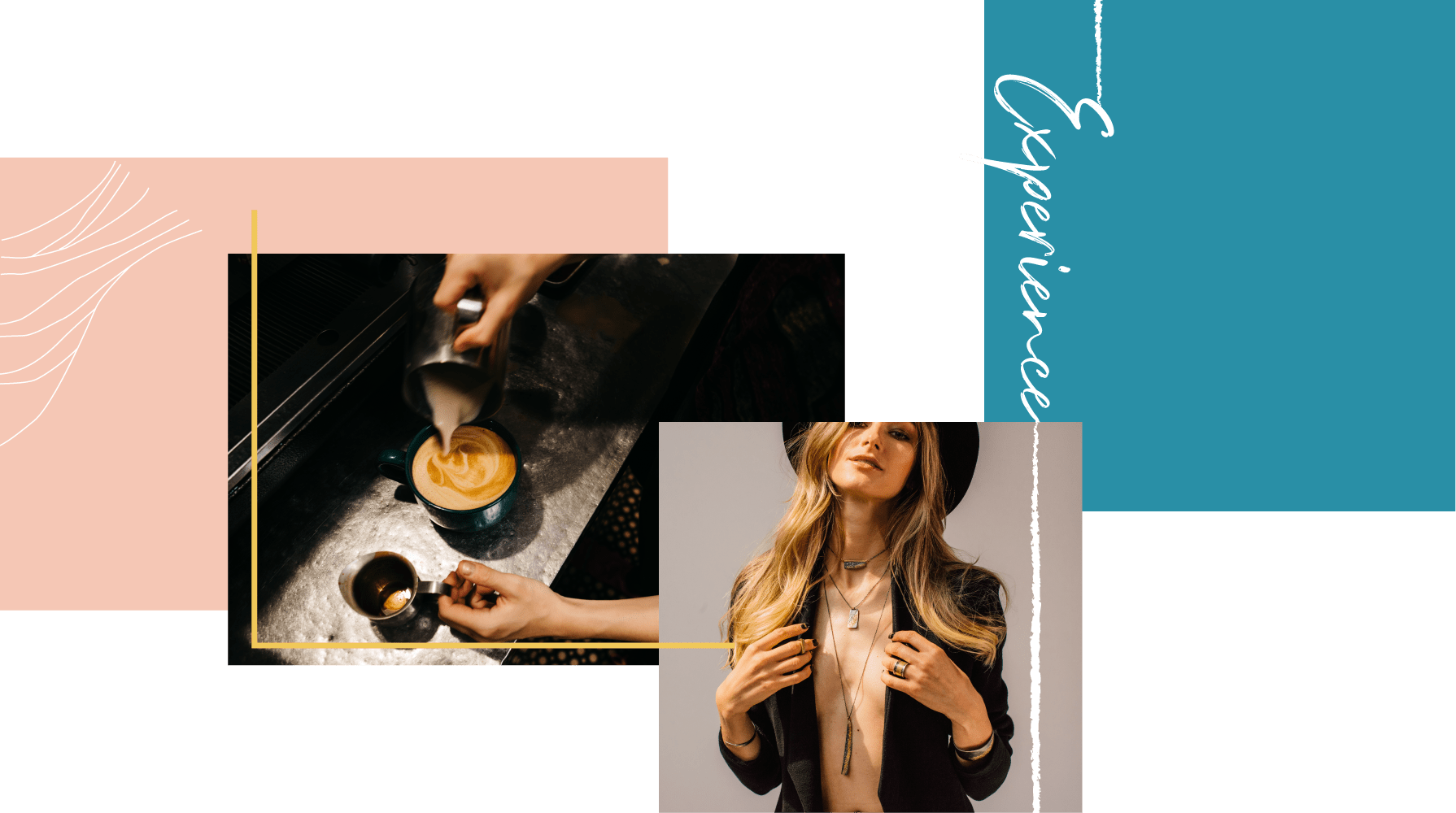"coffee shop pouring milk in coffee, model wearing kate maller jewelry, text on right that says ""experience"""