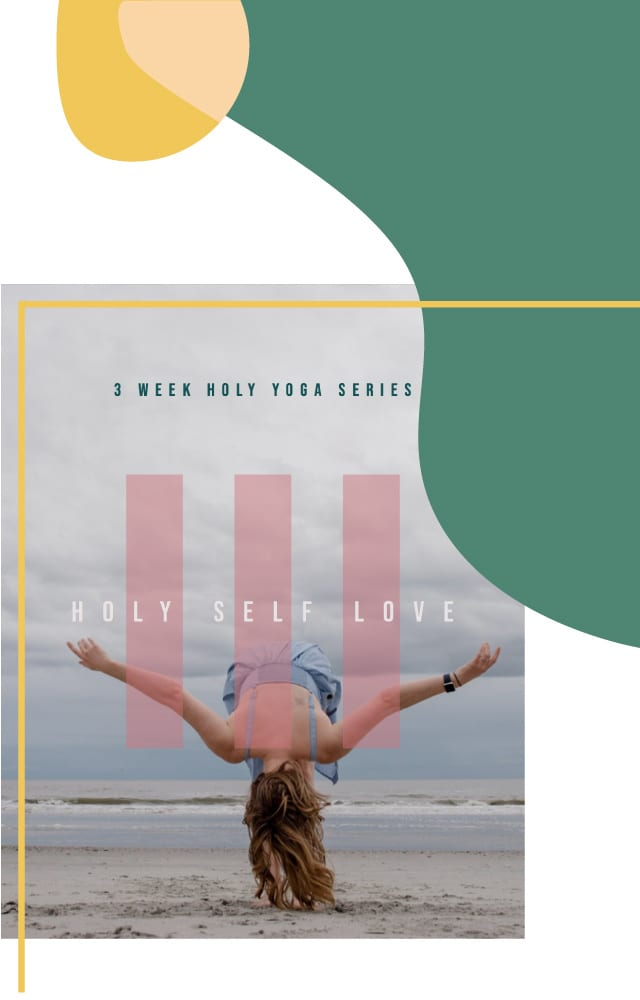 Holy self love video series cover of female on beach bowing down with arms wide out