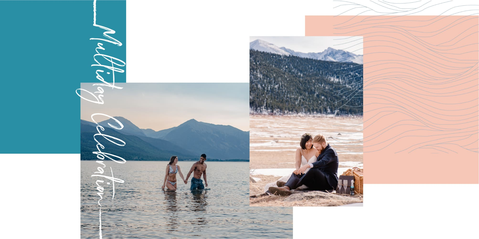 couple wading in alpine lake in colorado and couple having a picnic in oregon mountains