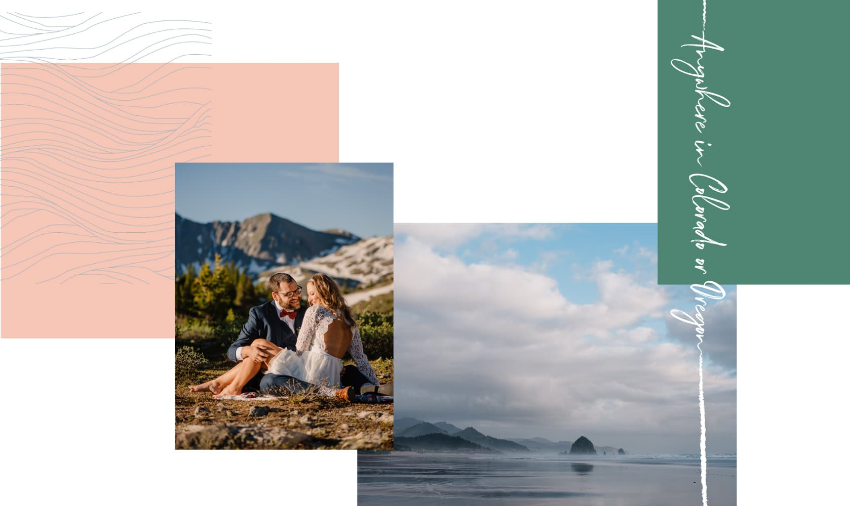 couple snuggling on mountain top in colorado and photo of cannon beach in oregon
