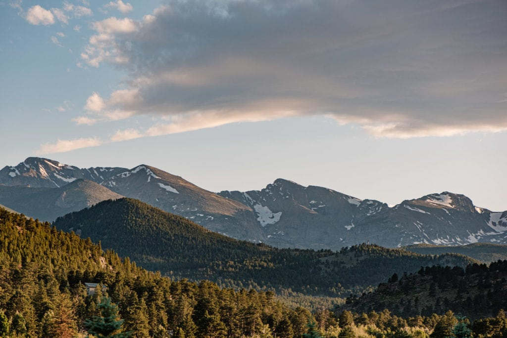 view of rocky mountain national parka at sunset