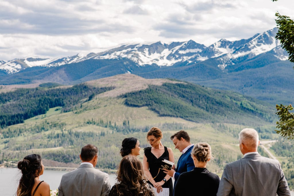 bride and groom with their family eloping in colorado