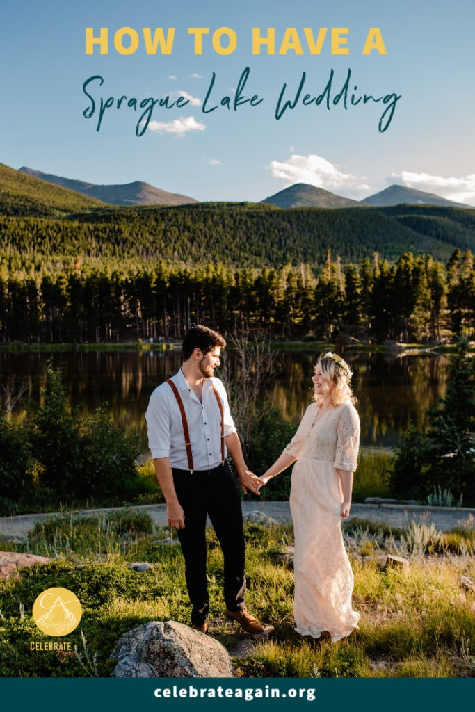 """couple holding hands at their sprague lake wedding in rocky mountain national park near sunset text at top """"how to have a sprague lake wedding"""""""