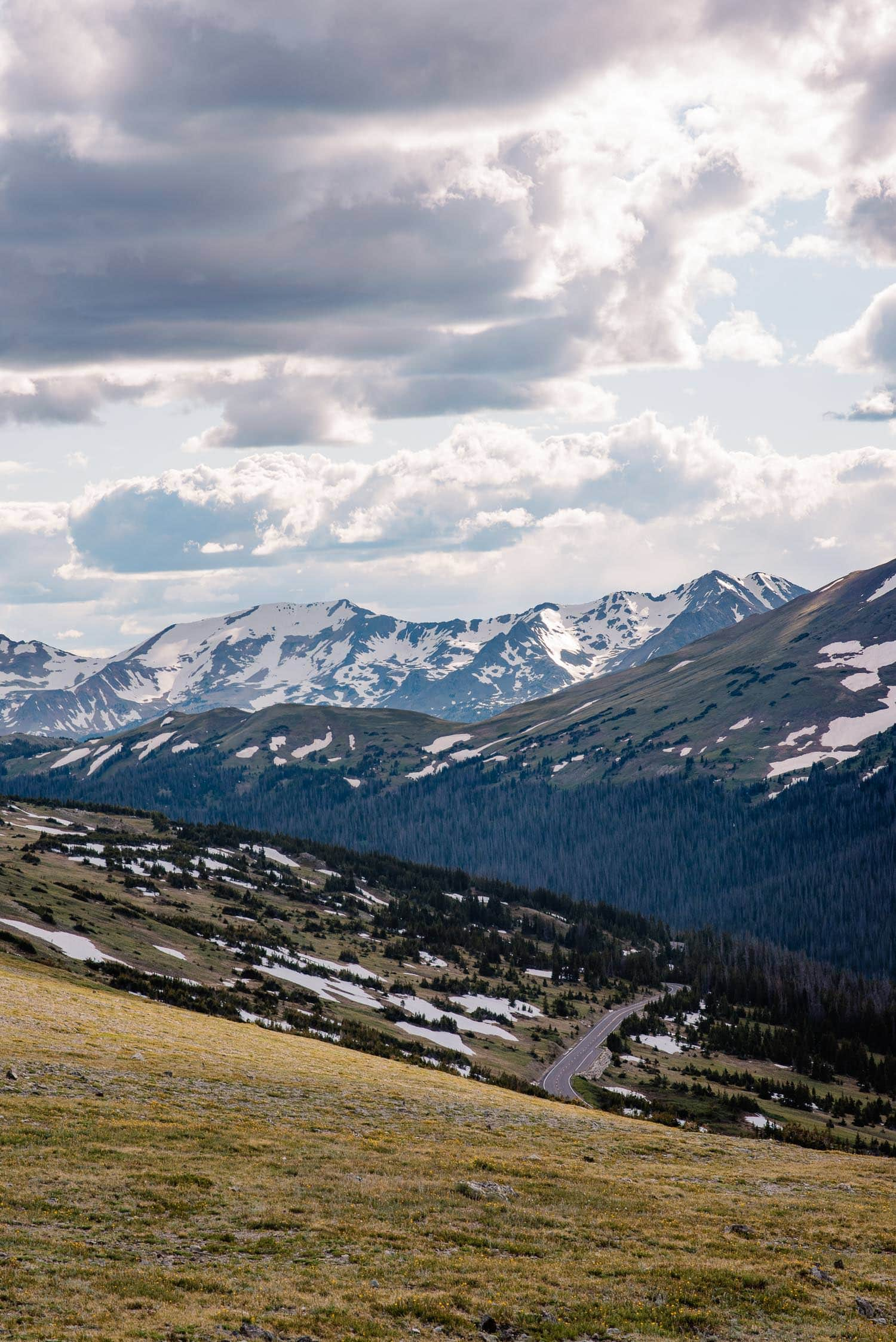 View of trail ridge road in Rocky Mountain national park on the way to Dream Lake Colorado