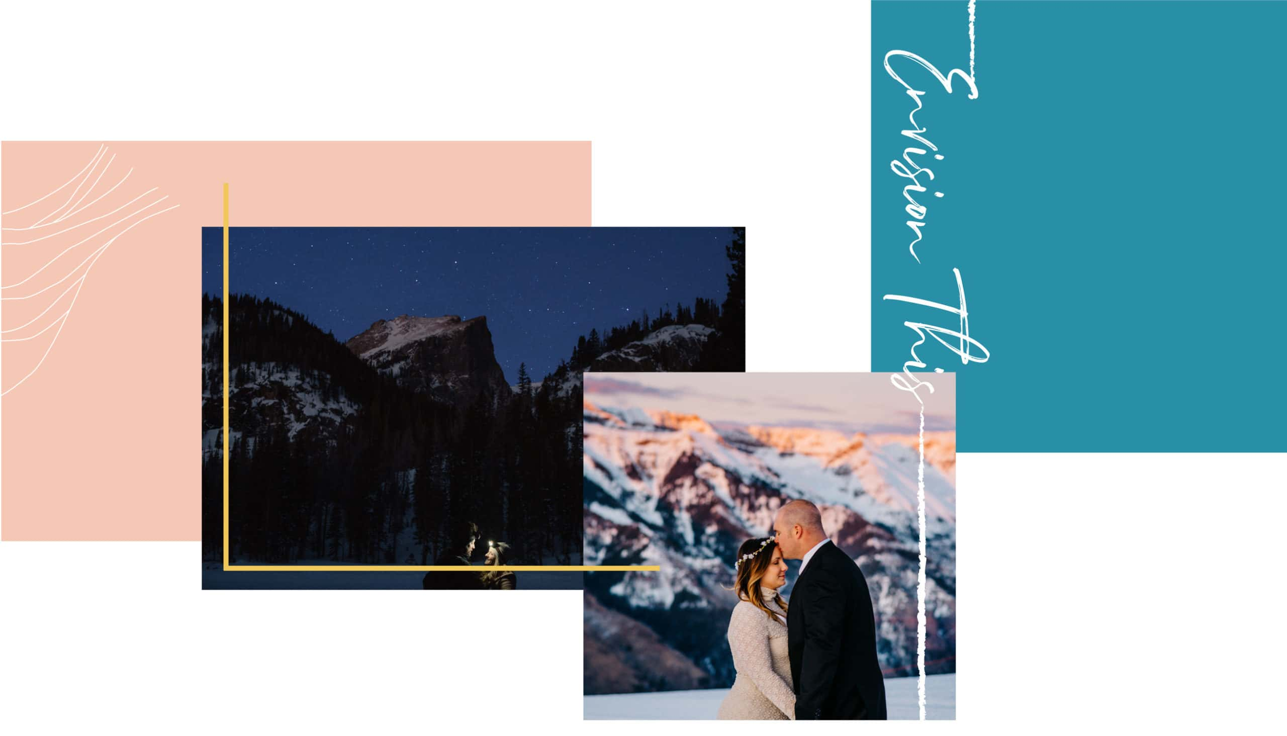 "adventurous couple getting married at the sunrise of the mountains with the stars out and other couple at sunset on the top of a mountain having an adventures wedding photographer take their photo text on the right that says ""envision this"""