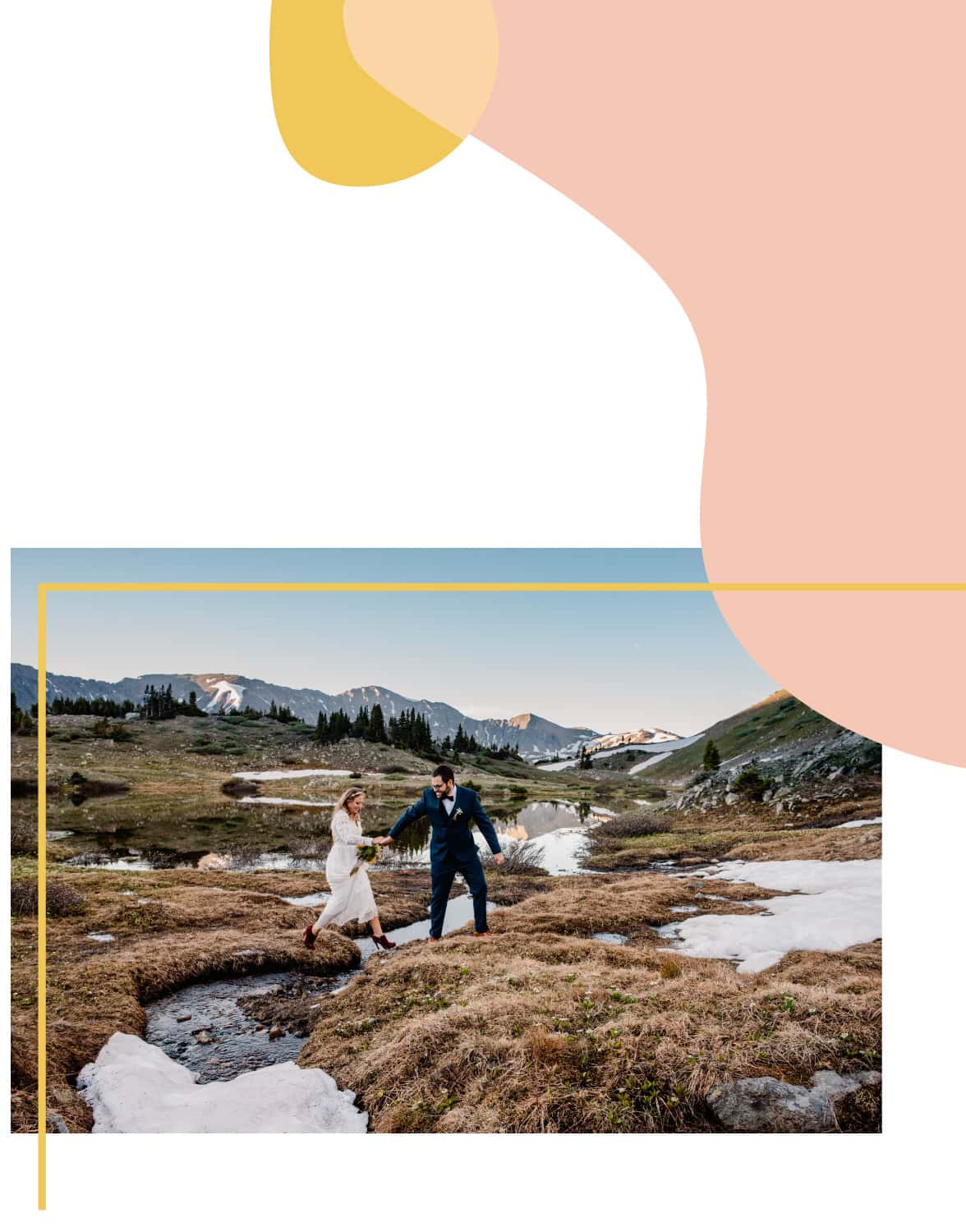 adventure wedding photographer graphic of couple getting married in the mountains of Colorado