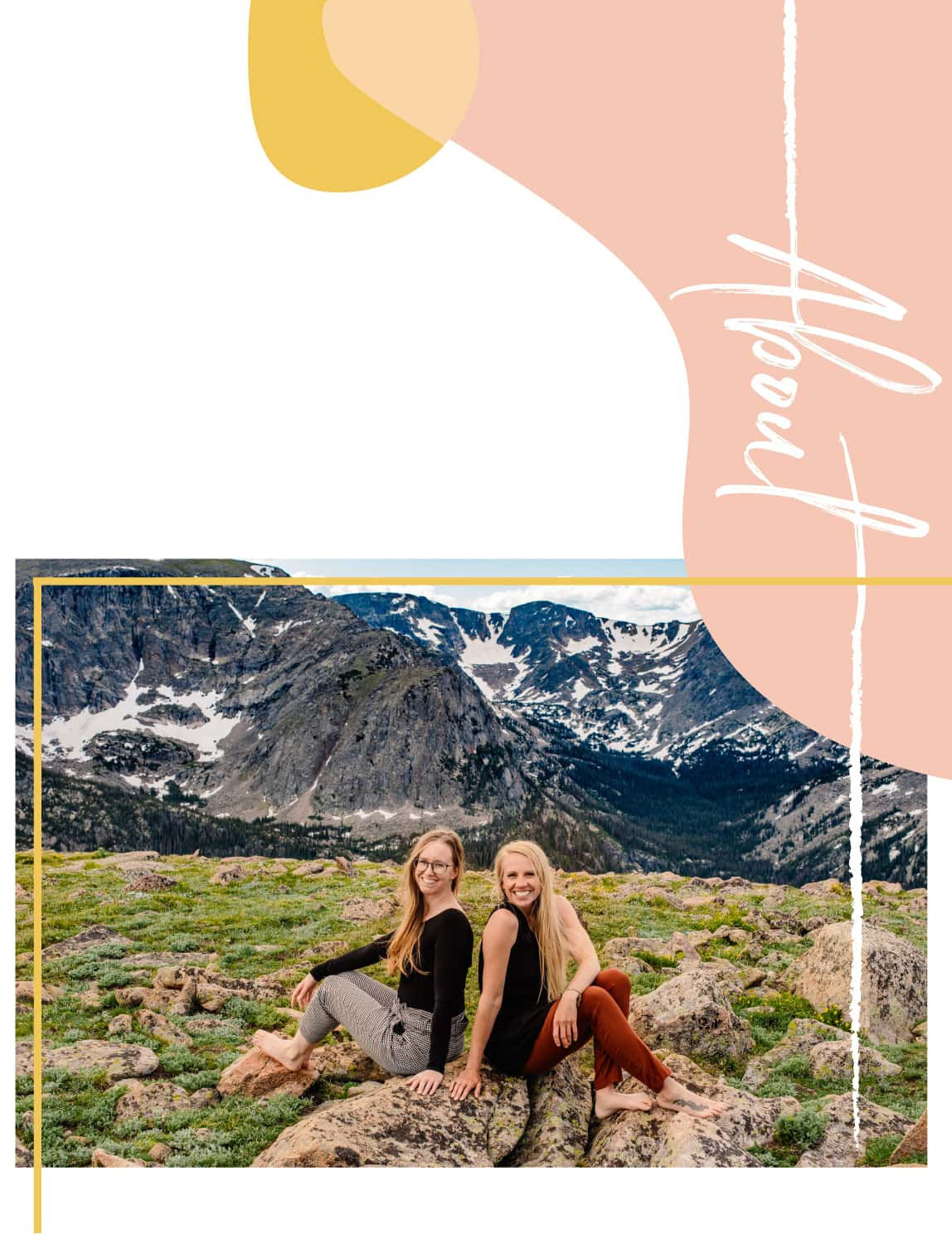 """emmy and brittany cannon beach elopement photographers with text on right """"about"""""""