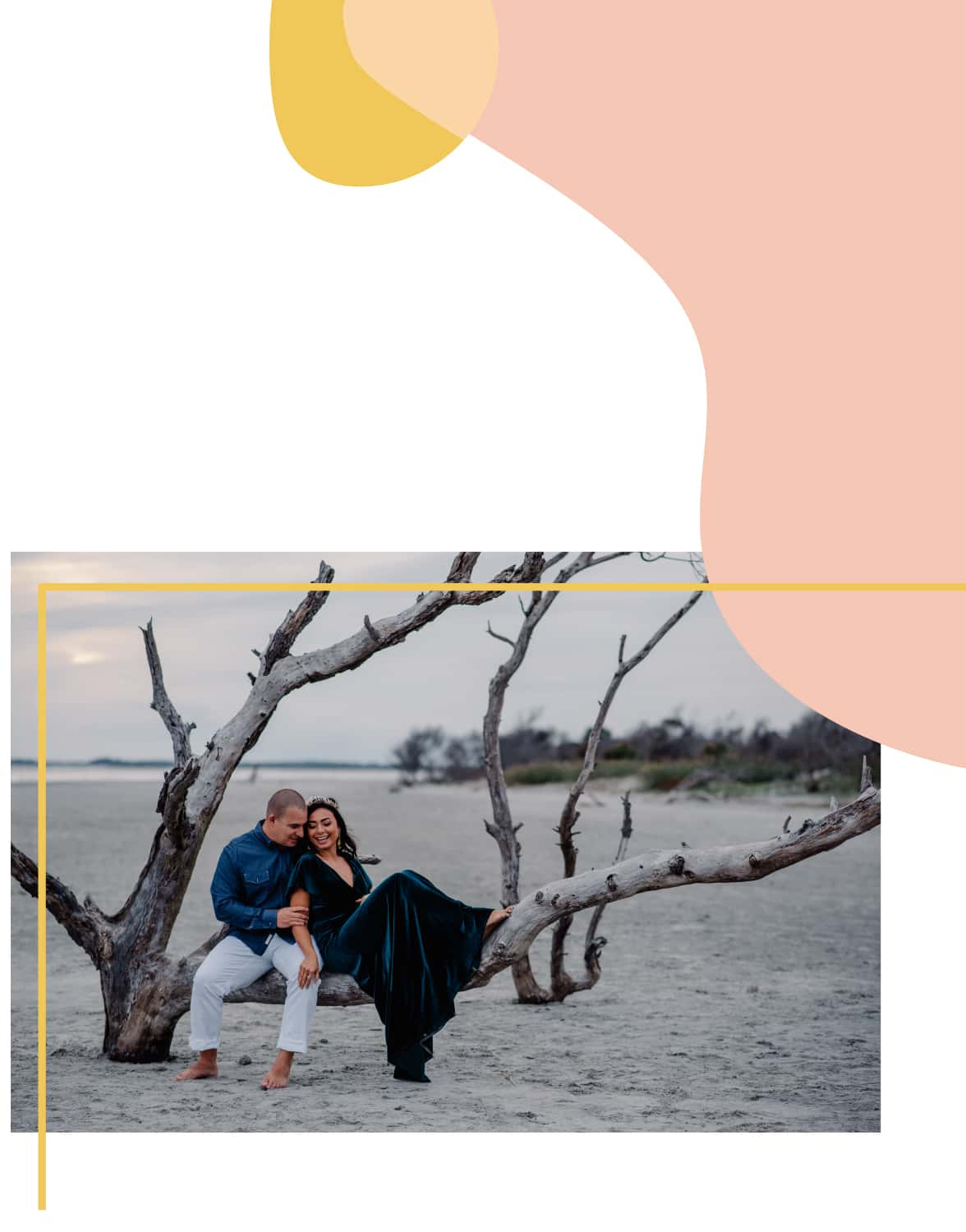couple sitting on a dead tree branch as Cannon Beach elopement photographer takes their pictures