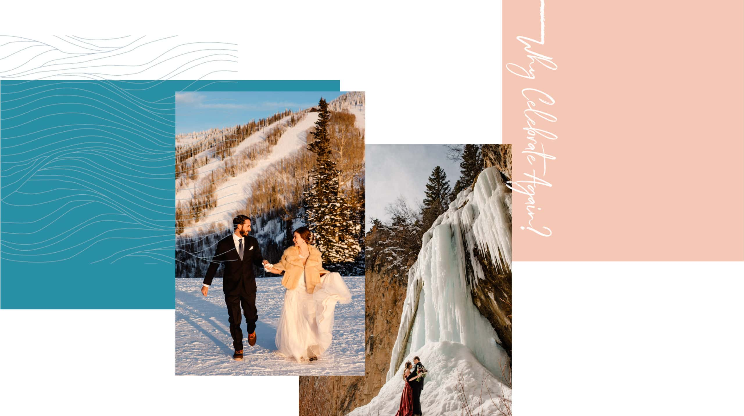 couple on top of a ski hill in Colorado and photo of a couple at an ice cave in Colorado
