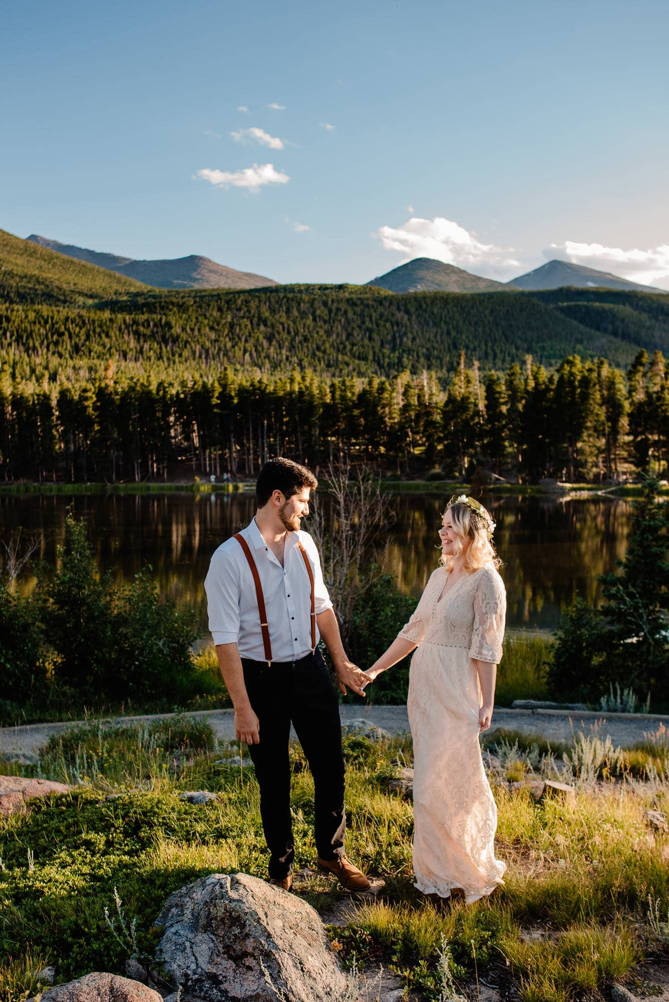 couple in affordable wedding clothes