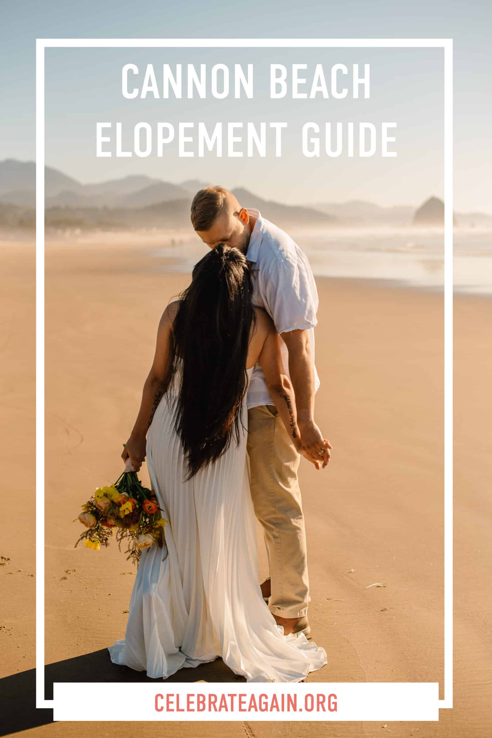 cannon beach elopement guide view of a couple kissing on cannon beach oregon after eloping themselves