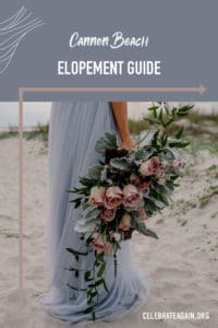 "Text at top of photo ""cannon beach elopement guide"" with wave lines in the left hand corner and arrows framing a photo of a bride holding her flowers down as they drape with her blue wedding dress"