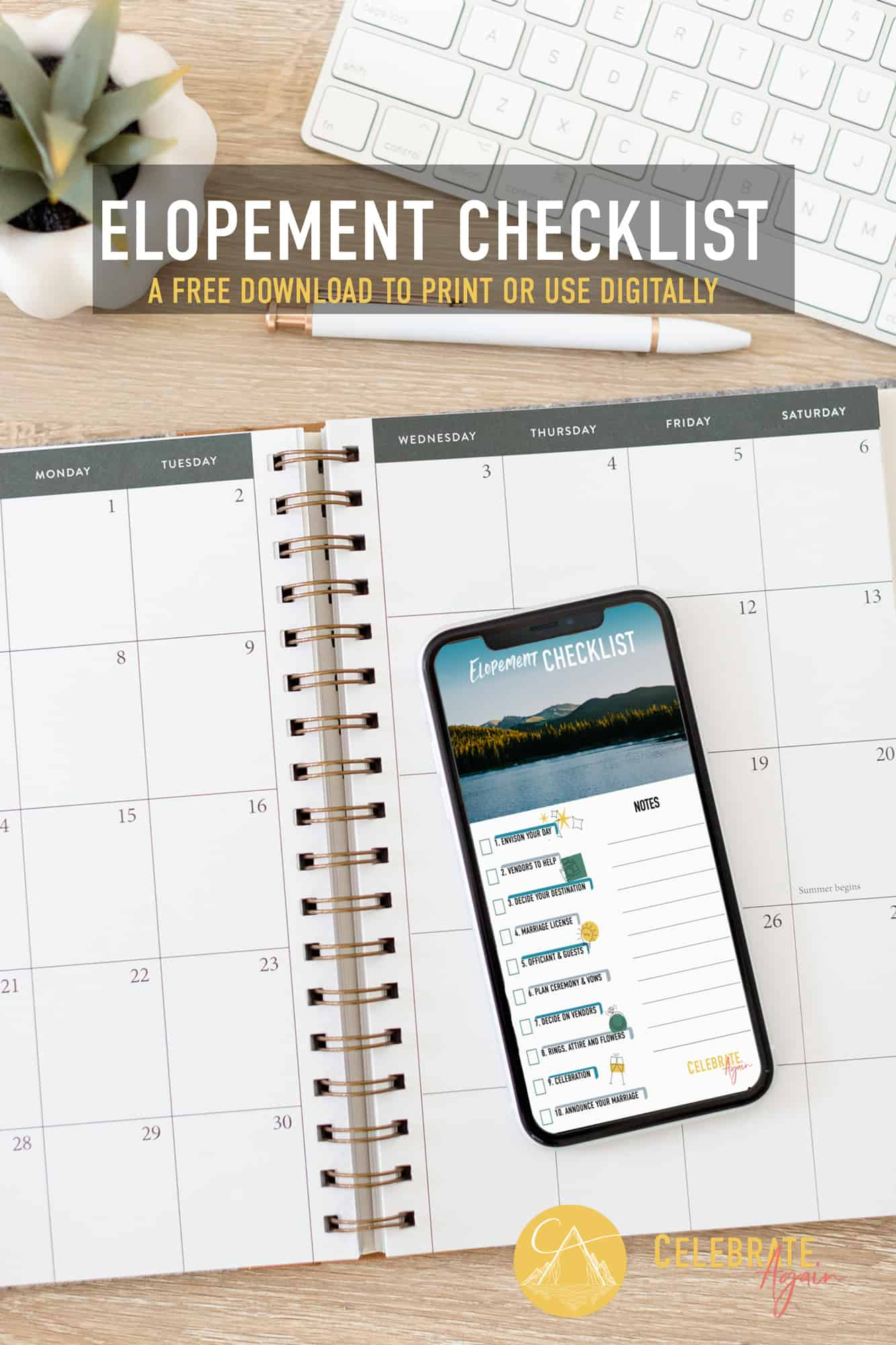 elopement checklist pdf on an phone on top of a calendar and keyboard near by