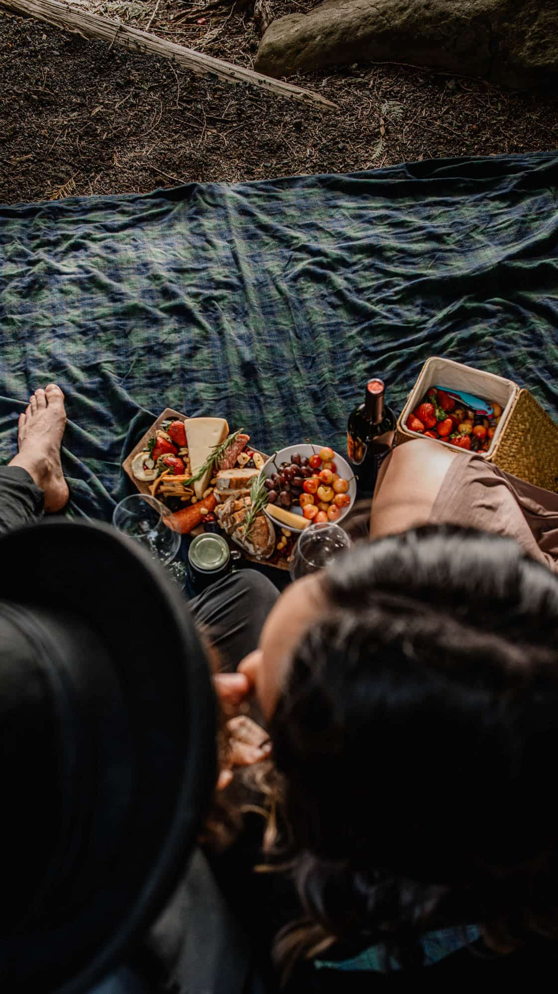 couple celebrating after their wedding day with a romantic picnic