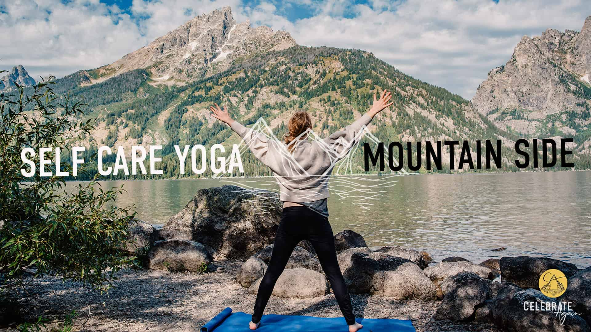 "female standing on a yoga mat in star pose near a mountain side with text that says ""self care yoga Mountain side yoga"""