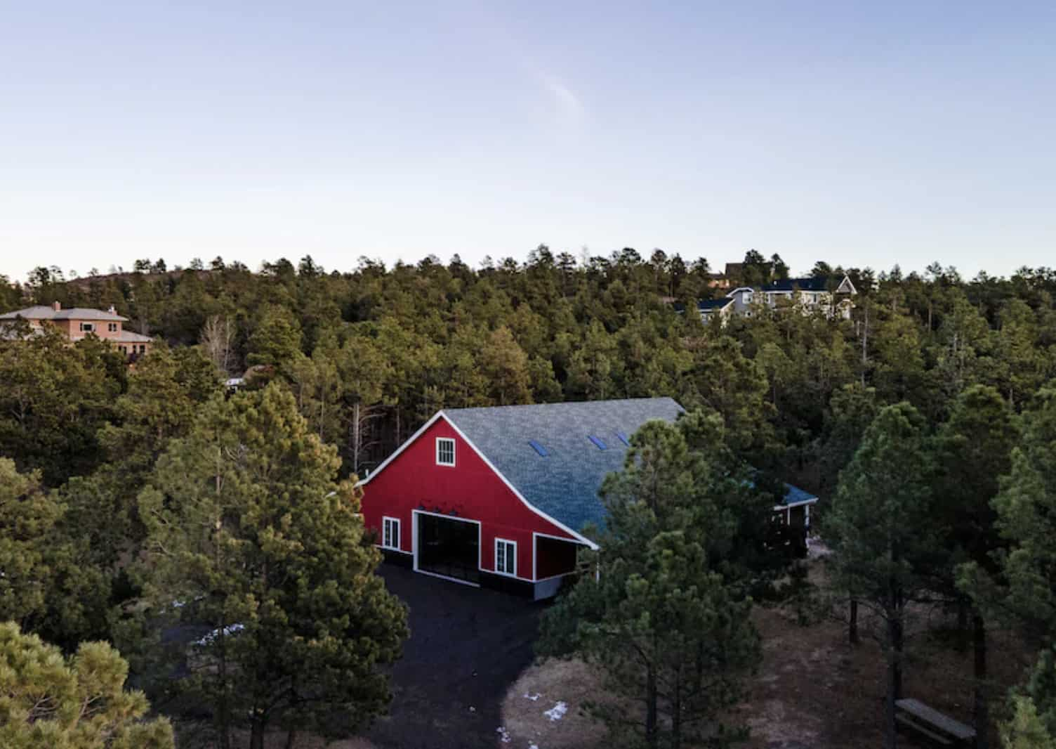 airbnb wedding venues colorado red barn in the forest