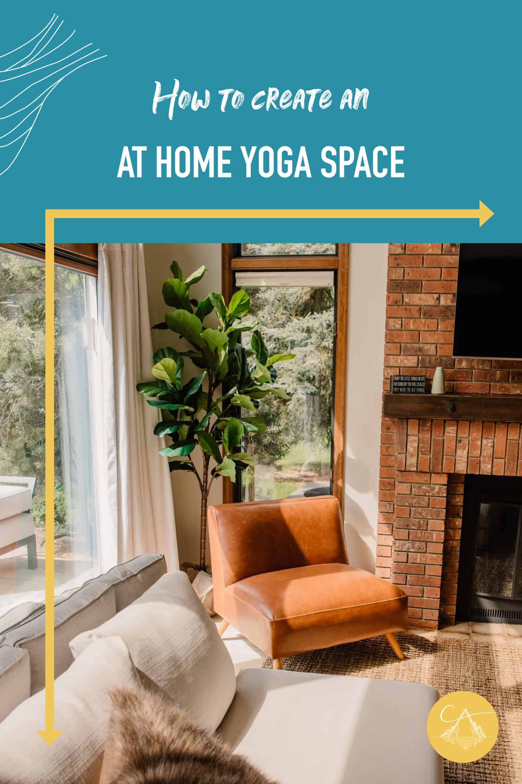 """""""how to create an at home yoga space view of a living room"""