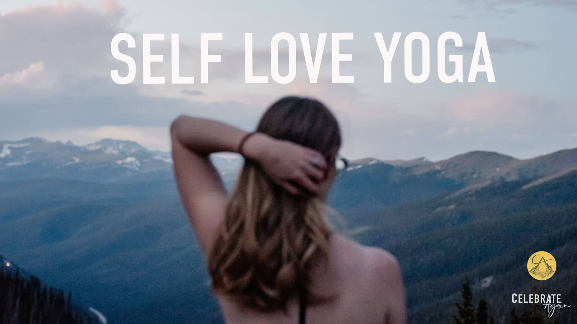 """""""self love yoga"""" view of female pulling her hair back over looking mountains after the sunset"""