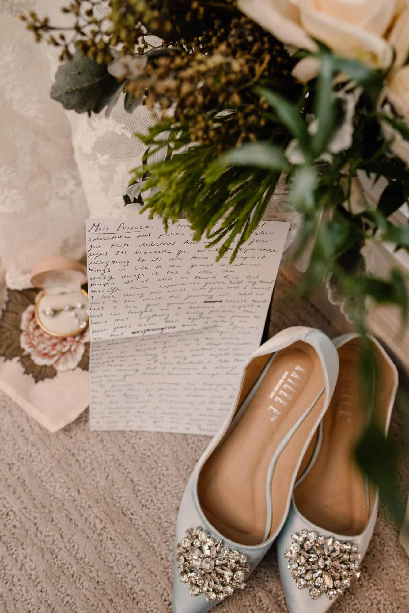 wedding details, brides shoes, her vows, her flowers and her ring