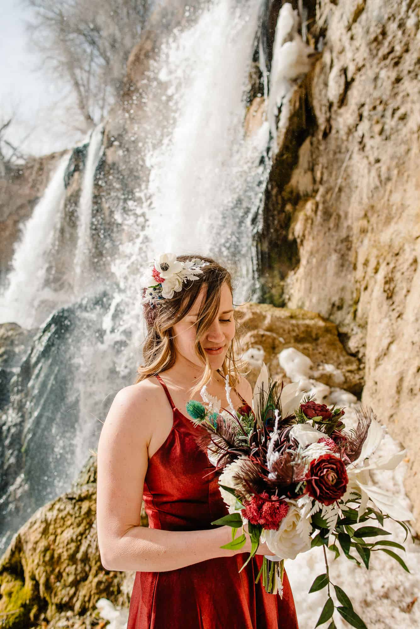 bride with silk florals