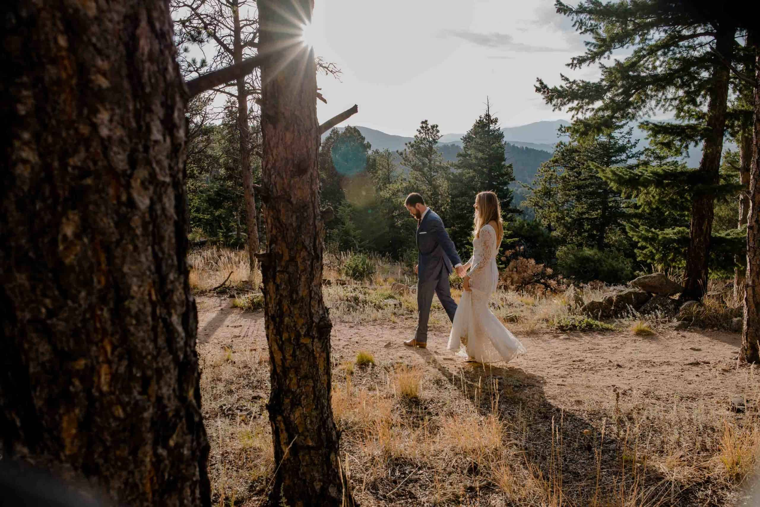 couple walking in the woods
