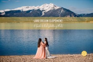 """""""Lake Dillon elopement guide and real wedding photos"""" couple standing on the edge of Lake Dillon Marina"""