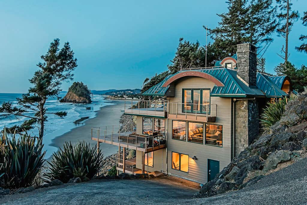 nighttime view of a VRBO house on the Oregon coast