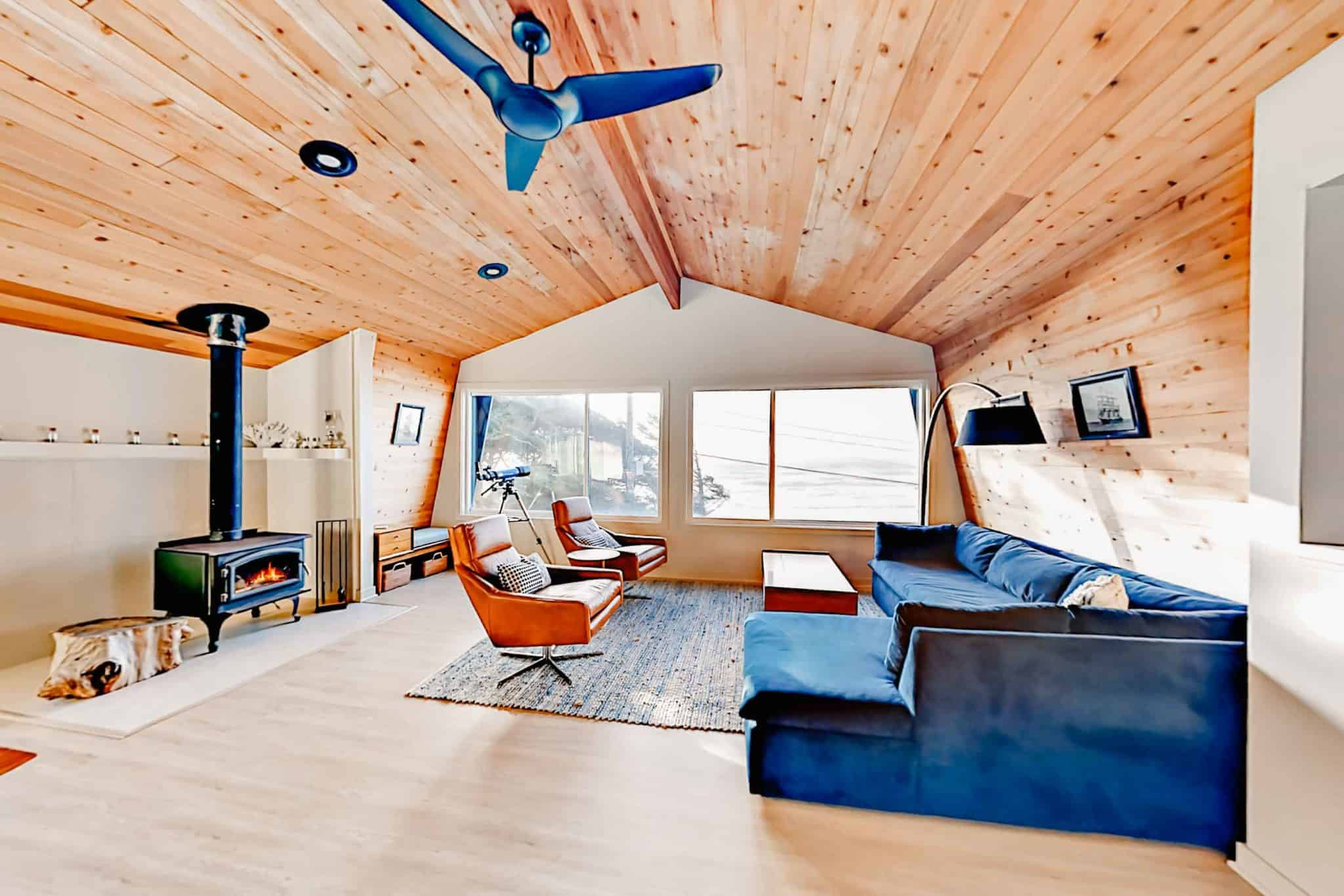 view of a cabin interior with modern furniture