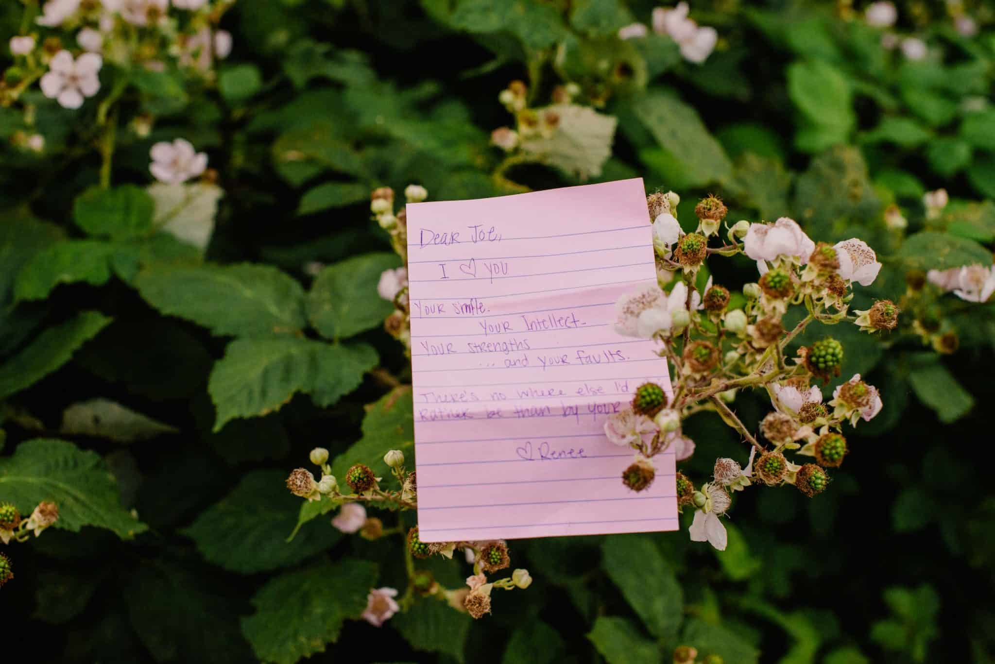a letter from a loved one on an elopement day helping a couple make their elopement special