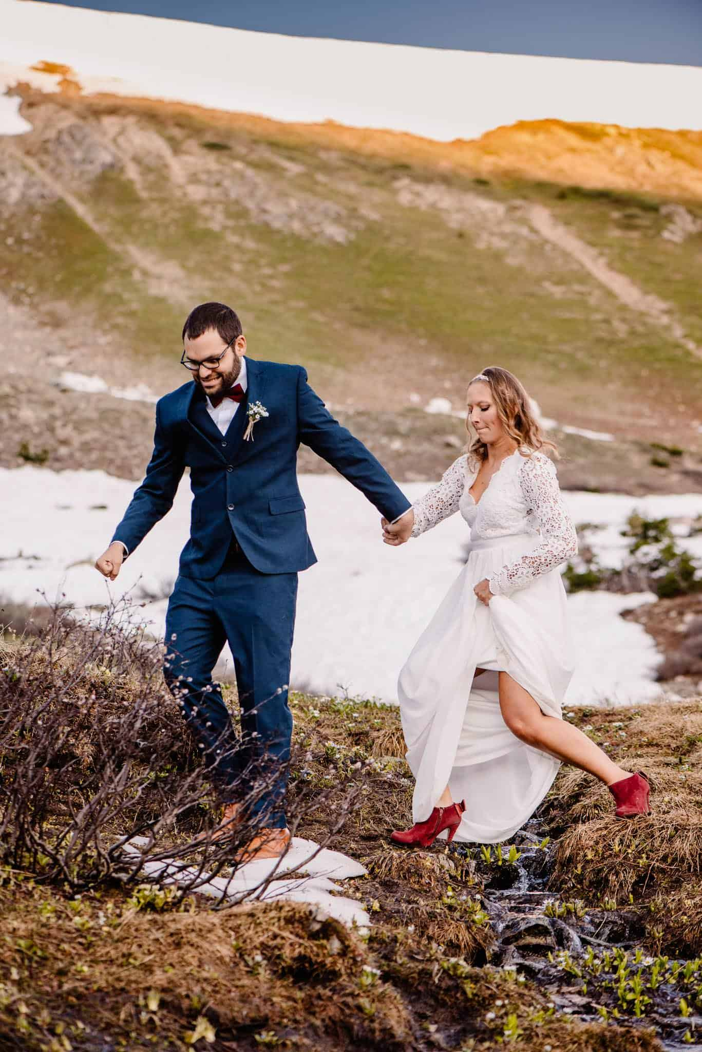 couple wearing shoes they love to make elopement special