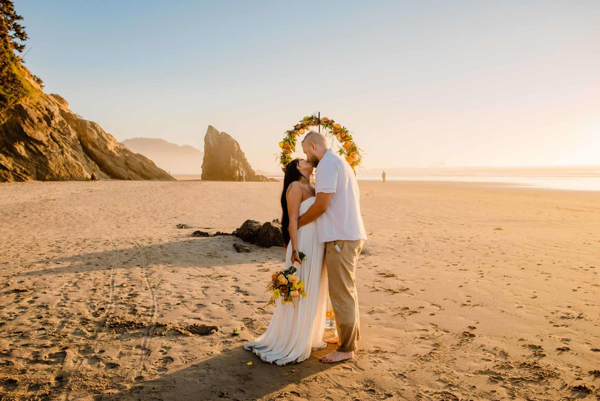 couple eloping in Cannon Beach Oregon