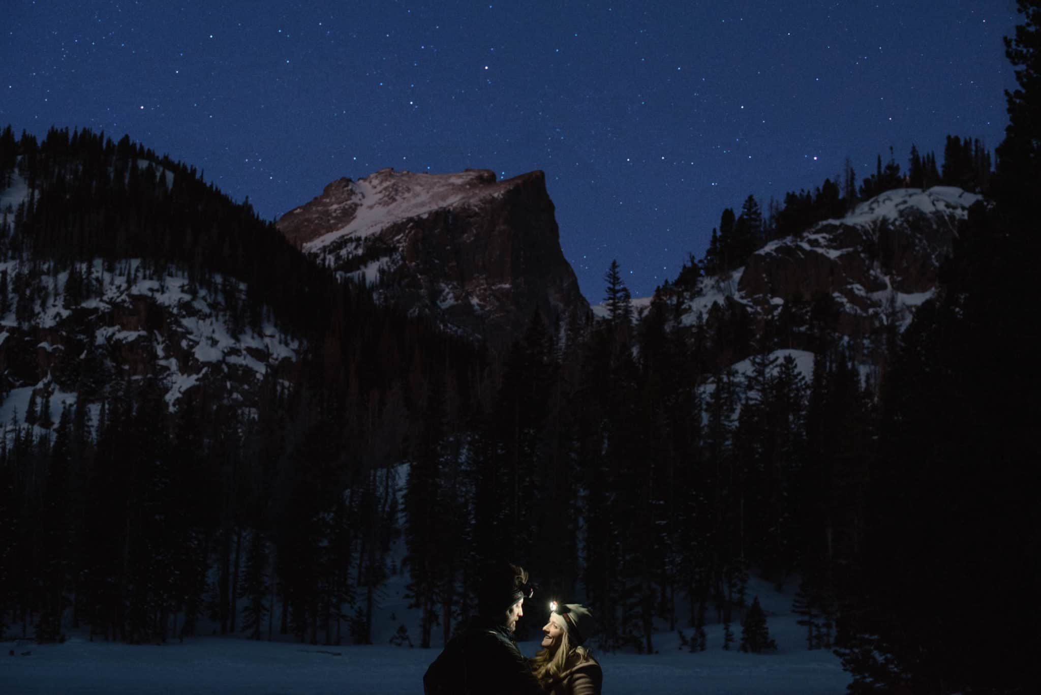 couple star gazing on their elopement day to make it special