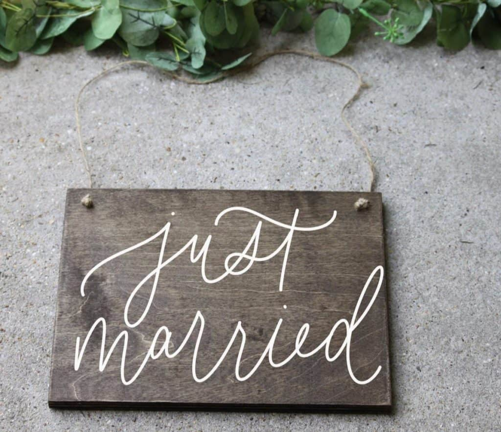 Just married wood sign by Etsy artist RandADesignCompany