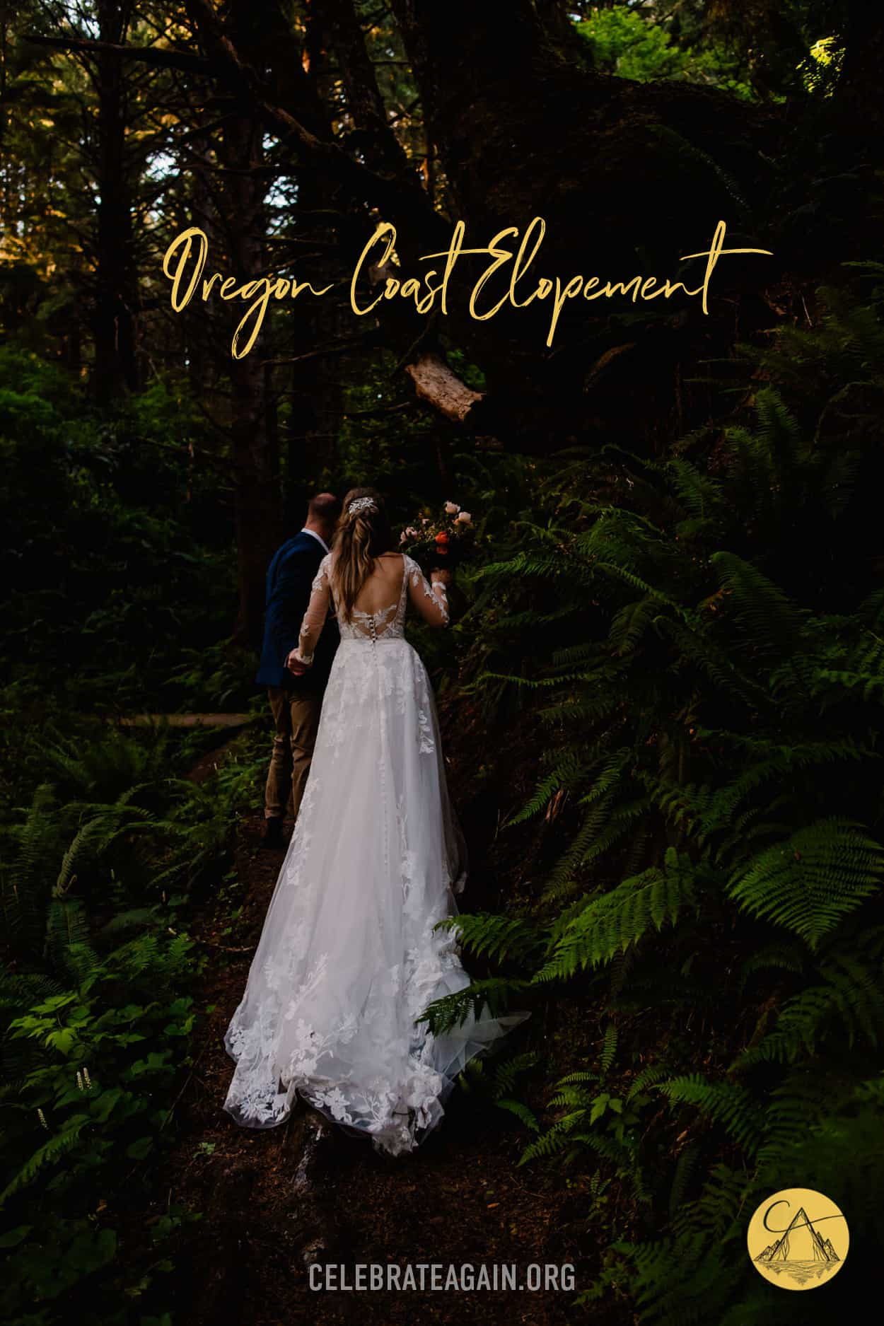 """""""oregon coast elopement"""" bride and groom walking through the forest after their Ecola State Park Forest after their wedding ceremony"""